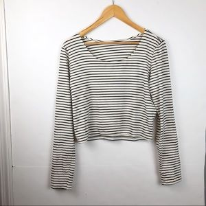 Philosophy White Striped Crop top size Large Tee